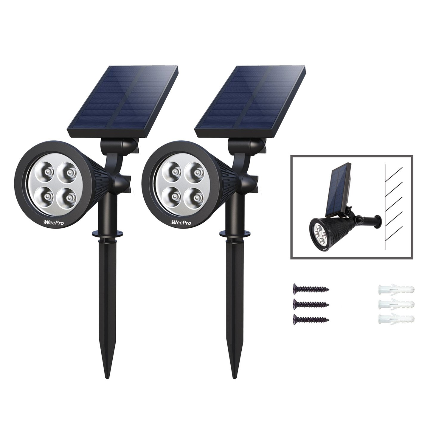 WeePro Led Landscape Spotlight Outdoor Garden Solar Light, Waterproof Sun Energy Rechargeable Lighting, Auto On / Off Wall Light for Yard, Path, Driveway, Flag, Hurricane Outage Emergency Use, 2 Pack