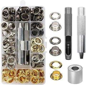 Juego de ojales juego de ojales de metal con 3 piezas de kit de herramientas y caja de almacenamiento 400 unidades en total 4 colores