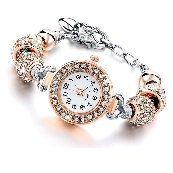 Beloved ❤ Reloj Pulsera de mujer con cristales - Pulsera con Beads plata compatible Pandora - Beads de Cristal, Cristal Y Metal - ajustable hasta 21 cm oro ...