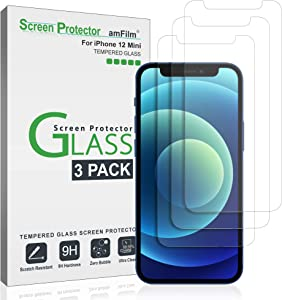 (3 Pack) amFilm Glass Screen Protector Compatible with iPhone 12 Mini (5.4