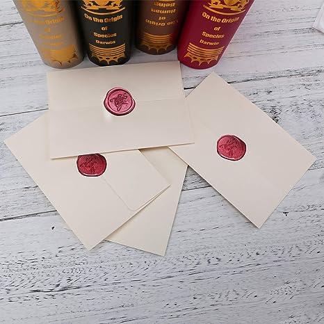Gigicloud Siegelwachs Perlen Set mit 3 St/ück Teekerzen und 1 St/ück Wachs Schmelzl/öffel f/ür Wachsstempel Briefumschl/äge Geschenkverpackung Umschlageinladungen Stempel Versiegelung