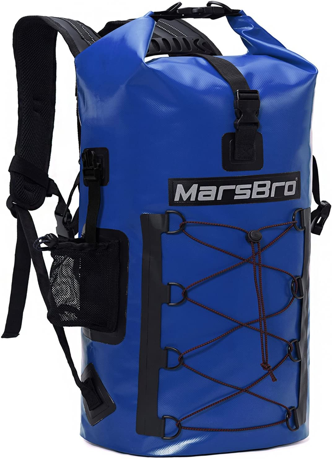 Amazon Com Marsbro Waterproof Backpack Dry Bag 1000d Pvc 35l 50l Hf Welded Seams Roll Top Closure For Kayaking Canoeing Floating River Tracing Sailing With Waterproof Phone Pouch Blue 35l Sports