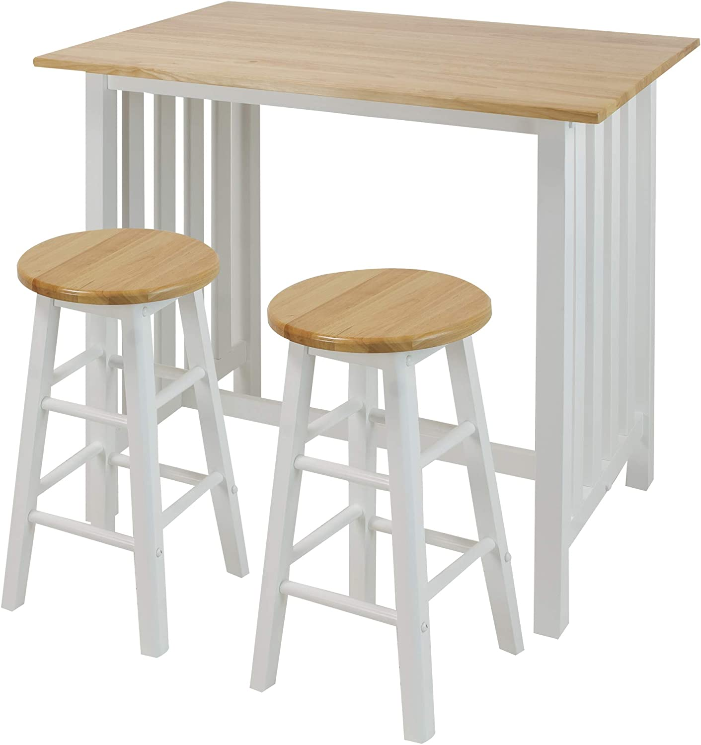 Casual Home 3-Piece Breakfast Set with Solid American Hardwood Top, White: Furniture & Decor
