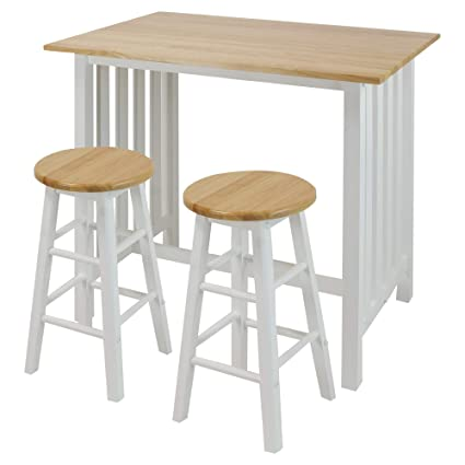 Casual Home 3 Piece Breakfast Set With Solid American Hardwood Top White