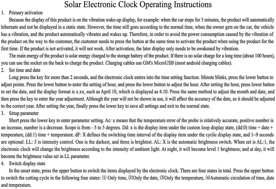 jinclonder Solar leuchtende Auto Uhr Thermometer Auto hochpr/äzise elektronische Uhr Auto elektronische Uhr freie Verkabelung beginnen mit dem Auto Hochtemperaturbest/ändiges ABS