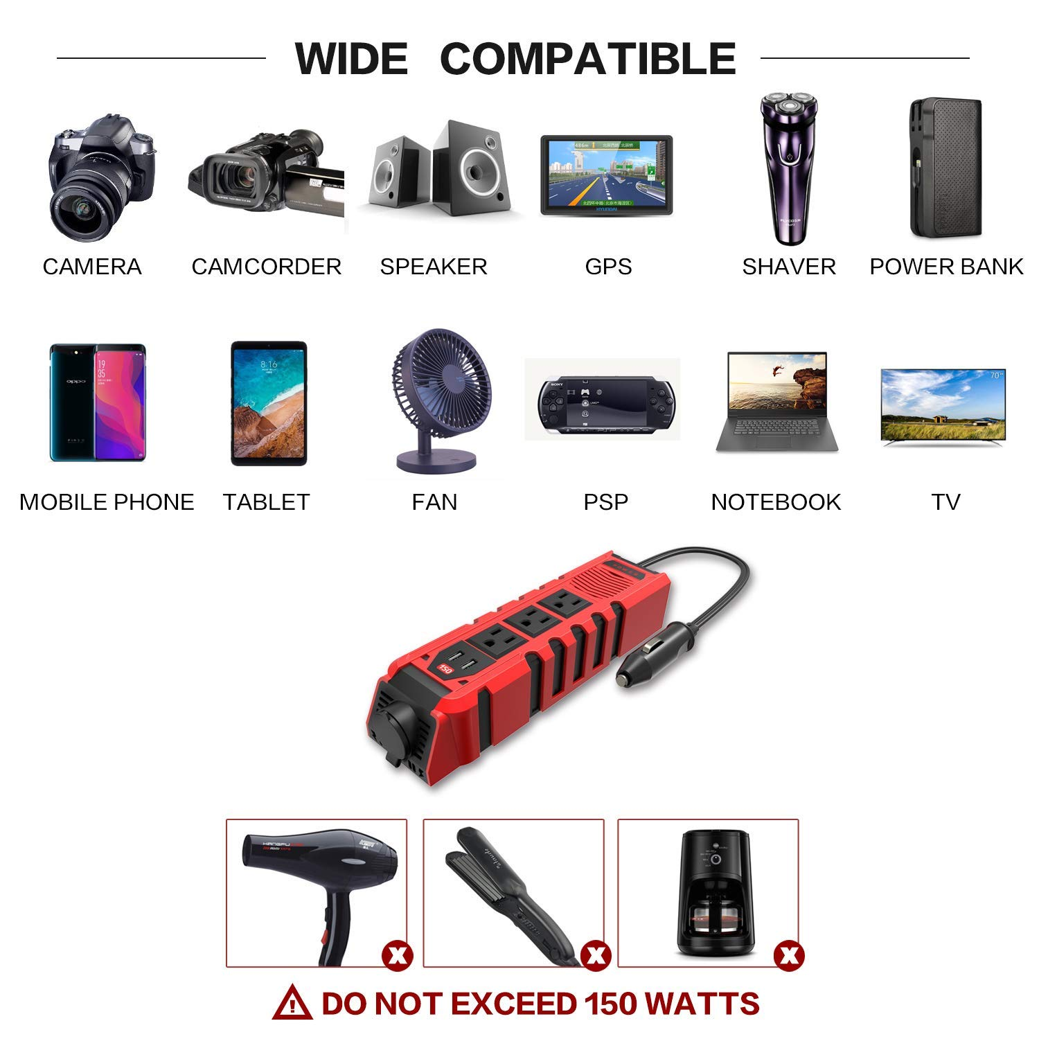 BYGD 150W Car Power Inverter DC 12V to 110V AC Converter with 3 Charger Outlets and Dual 2.4A USB Ports Car Cigarette Lighter Adapter by BYGD (Image #3)