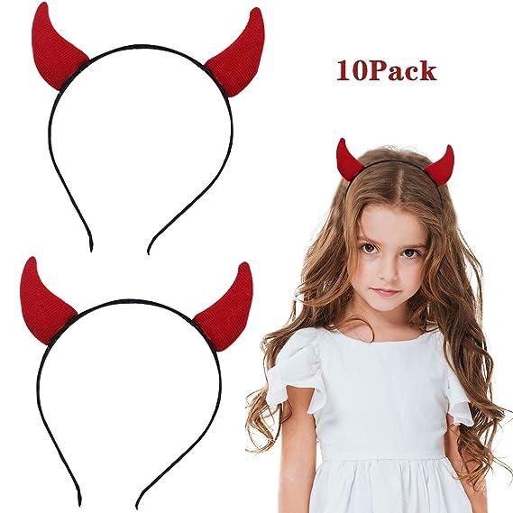 Bigbigjk 10 Stuck Halloween Haarband Teufelshorner Haarband Horn