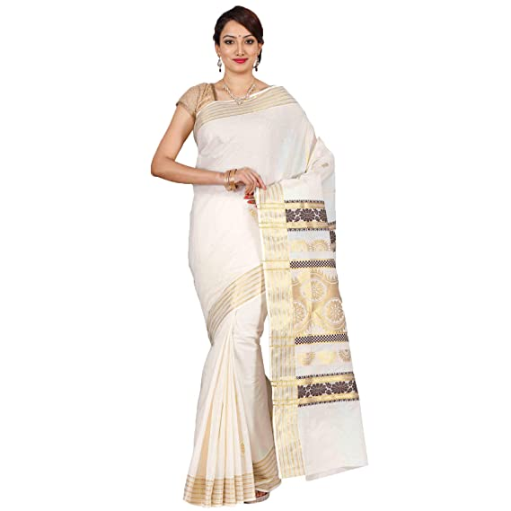 4a27fc7776 Classicate From The House Of The Chennai Silks - Kerala Kasavu Cotton Saree  - Off-White - (CCMYSC5300): Amazon.in: Clothing & Accessories