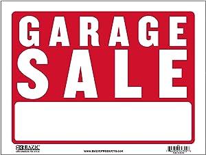 "BAZIC 9"" X 12"" Garage Sale Sign, Yard Sales for Sale Home Business Plastic Sign, Wall Door Border, Waterproof Indoor Outdoor Advertising Signage, 1-Pack"