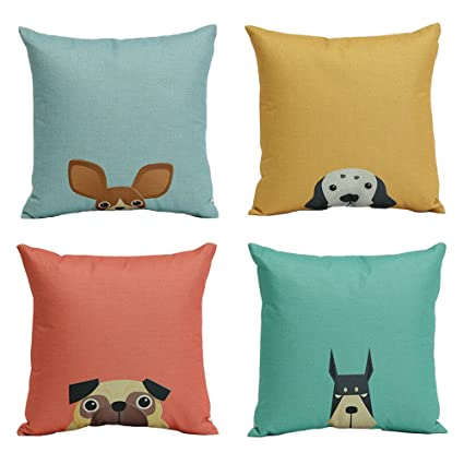 New Arrival Cushion Covers Dogs Pattern Design Pillow Covers Cotton Linen Blend Pillowcases Home Sofa Chair Car Decorative Cushion Cover