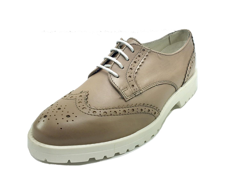Scarpe donna casual sneakers stile inglese in PELLE/CAMOSCIO fondo gomma 07R18 (36, BEIGE)