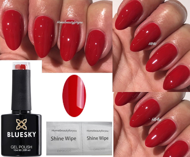Vernis à ongles rouge classique Blue Sky QSG45- Vernis gel à UV ou LED de 10ml plus 2 lingettes Shine Wipes deHomebeautyforyou LTD