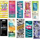 10 NEW ASSORTED INDOOR TANNING BED LOTION PACKETS SAMPLES PACKETTES