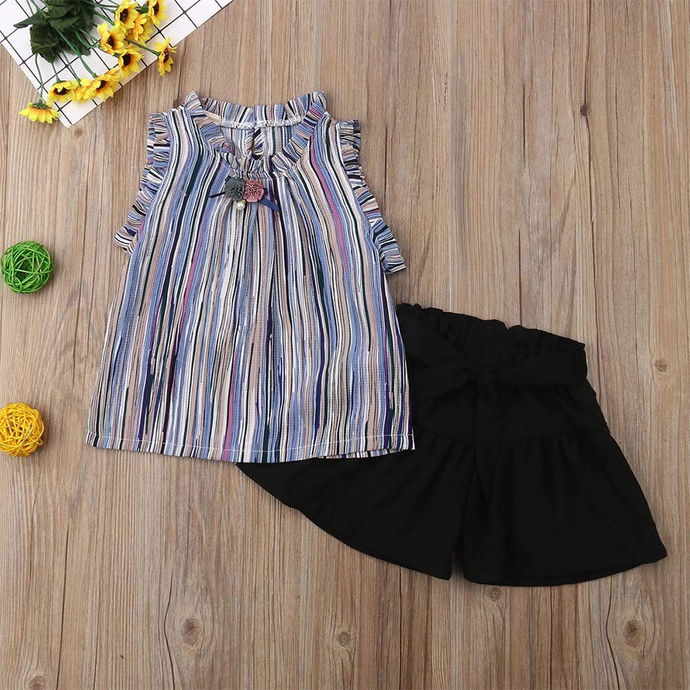 2Pcs Toddler Baby Girls Summer Clothes Set Sleeveless Ruffled Stripe Chiffon T-Shirt Top Vest Black Shorts Pants