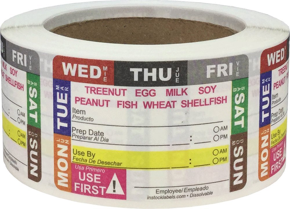 Dissolvable Universal Shelf Life Allergy Warning Labels for Food Rotation Use by Food Preparation Days of The Week Prep Date Stickers 2 x 3 Inch 500 Adhesive Stickers