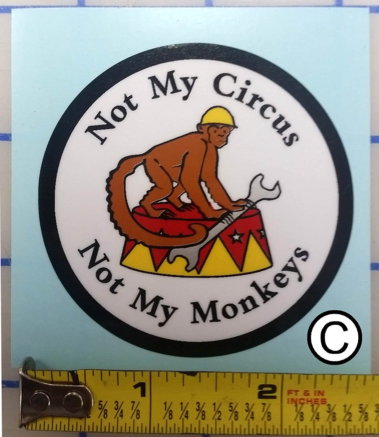 Amazon com i make decals not my circus not my monkeys monkey 2 5 vinyl circle with protective laminate hard hat vinyl decal car sticker