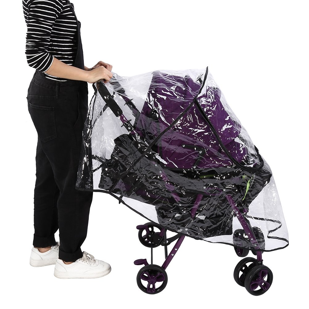 Infant Baby Stroller with Zippers Wind Snow Dust Transparent Shield Infant Pram Stroller Pushchair Breathable Accessories Clear Rain Cover for Stroller