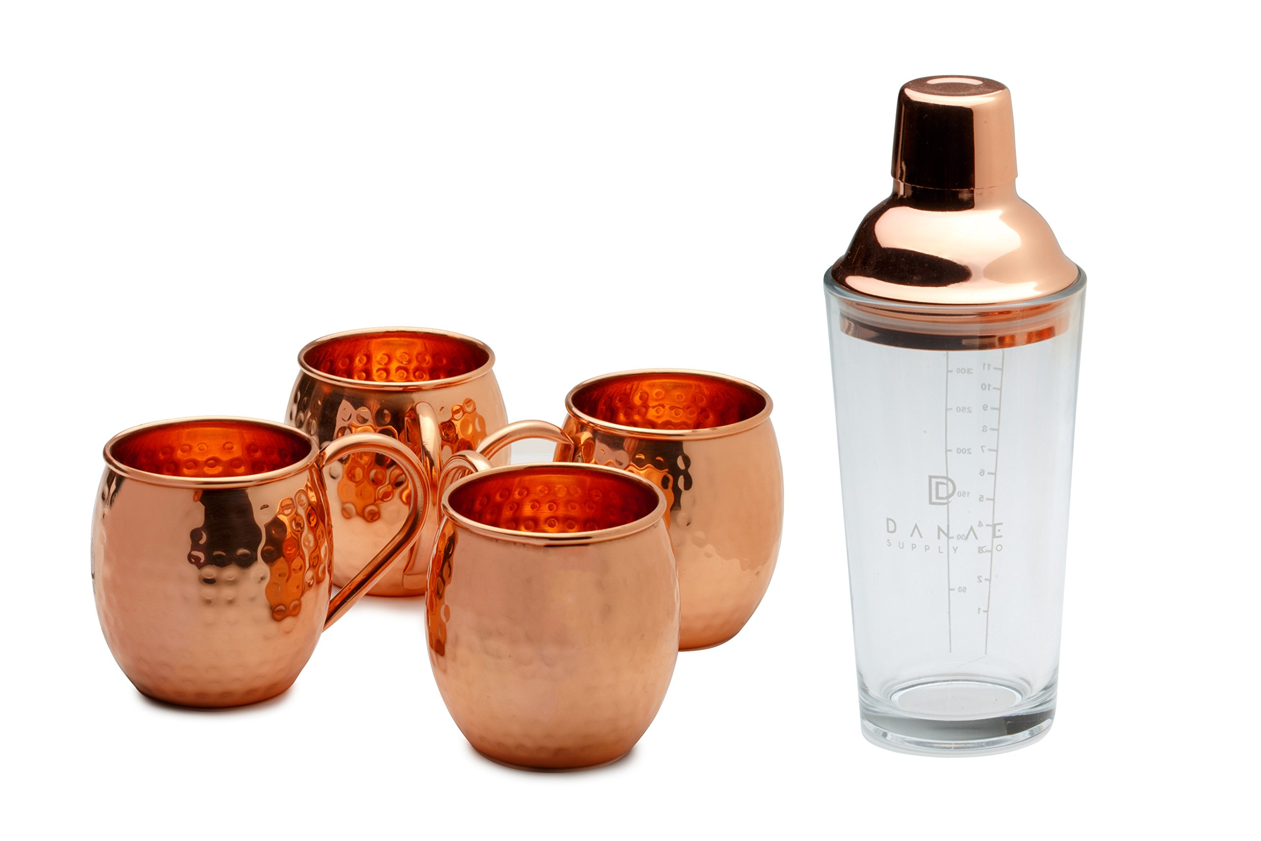 Moscow Mule Copper Mugs Set with Glass Cocktail Shaker (4, Barrel Mug)