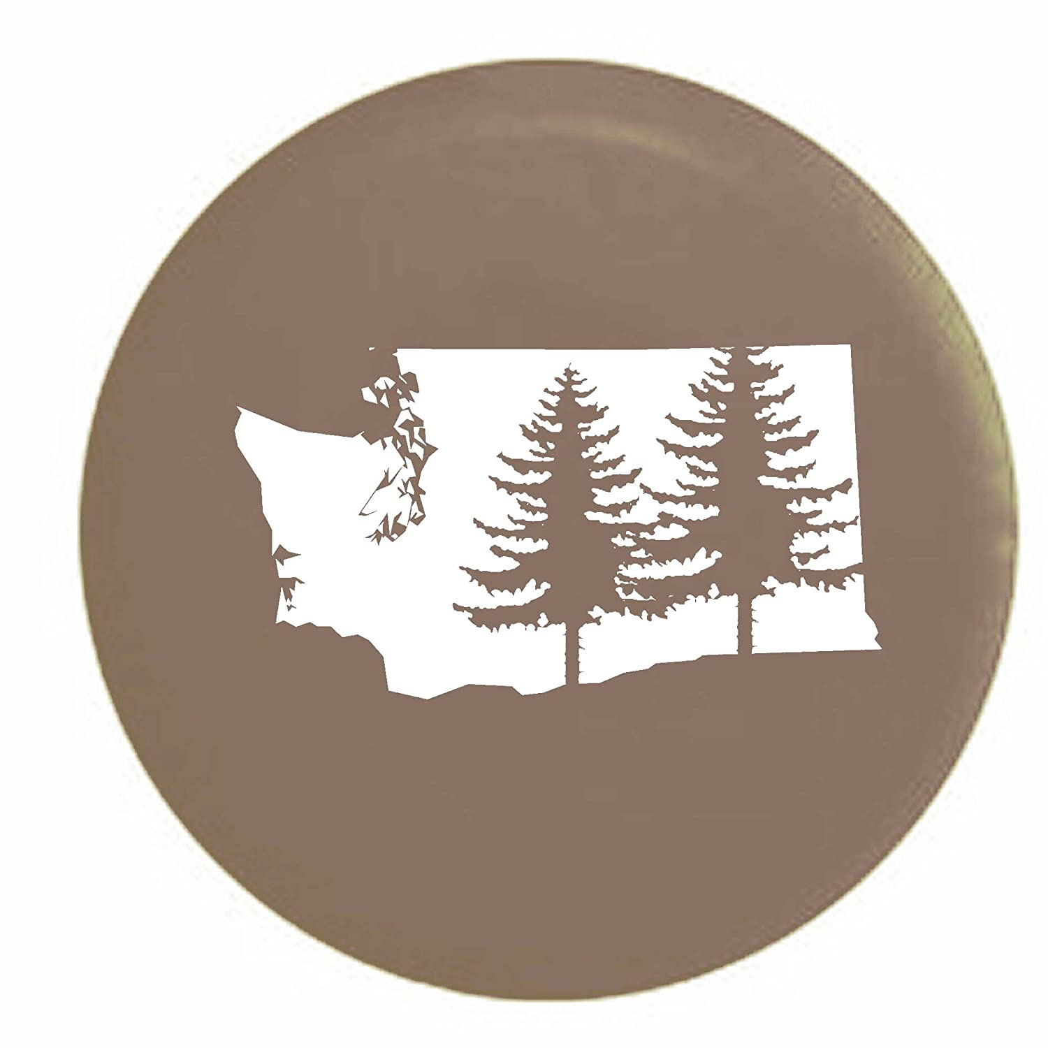 Washington Pine Trees Home State Edition RV Spare Tire Cover OEM Vinyl Black 27.5 in Pike Outdoors
