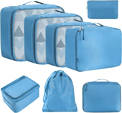 Lot de 8 Organisateurs de Voyage Cube Voyage de Haute Qualit/é Rangement Sac de Voyage Ideal pour Les V/êtements Chaussures et Cosm/étiques Organiseurs de Bagage DIMJ