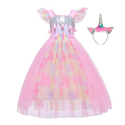 Unicorn Dress Flower Girls Costume Princess Dress with Headband for Girls 2-12 Years: Clothing