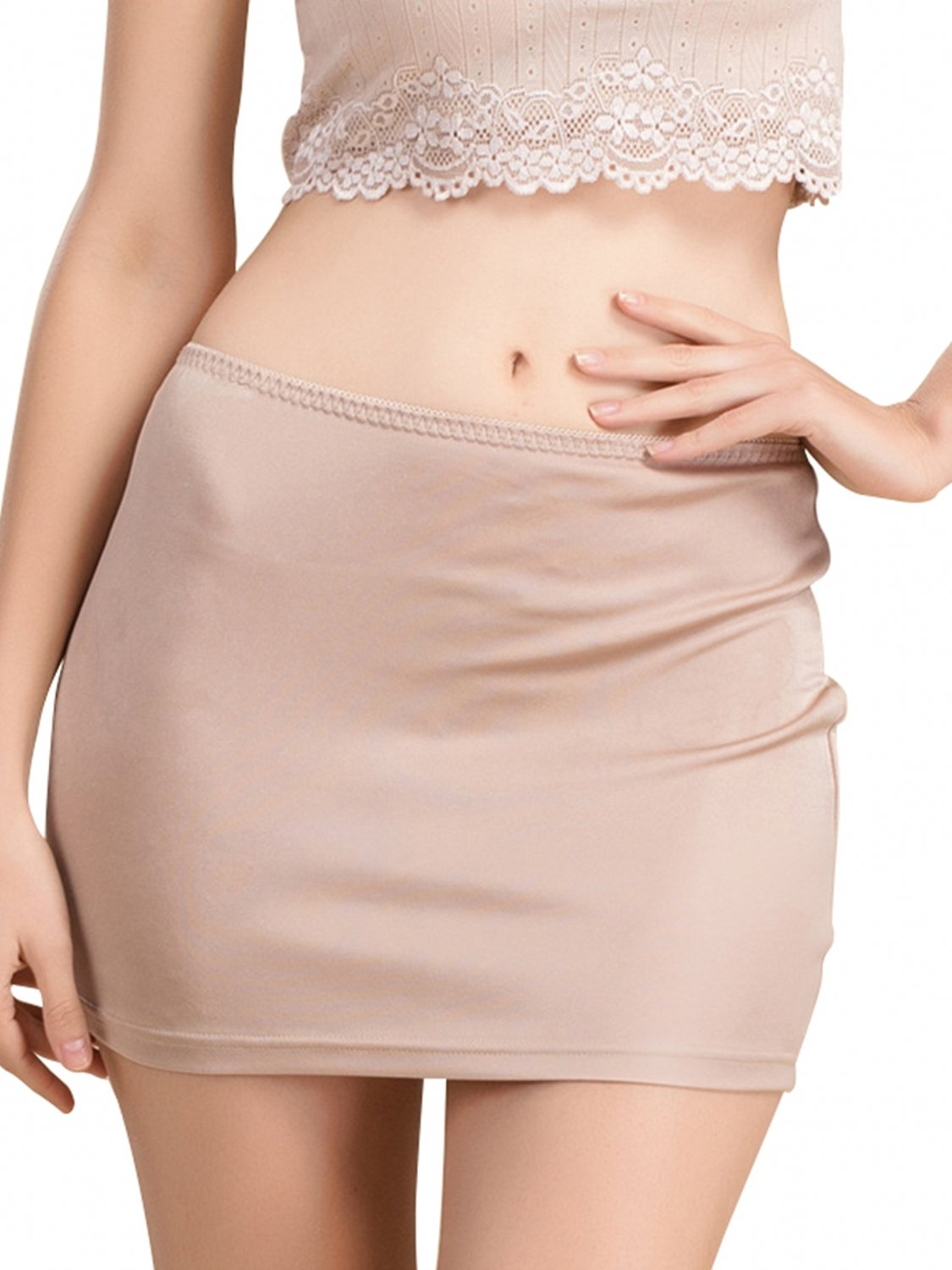 916d20368167c MisShow Women's Invisibly Lightweight Smooth Body Foundation Half Slip (Nude,L)