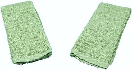 Costco marca 2-Pack 100% algodón Toallas de mano, color verde