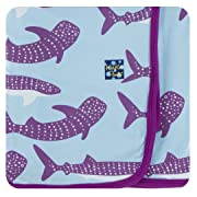 Kickee Pants Little Girls Print Swaddling Blanket - Pond Whale Shark, One Size