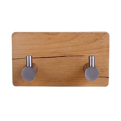 YingQ - Ganchos adhesivos para toallas de madera y acero inoxidable de 3 m, ganchos