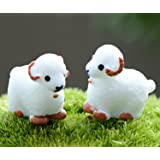 """Smilesky Miniature Sheep Figure Animal Toys Home Garden Office Decorations White 0.8"""" (Pack of 12)"""
