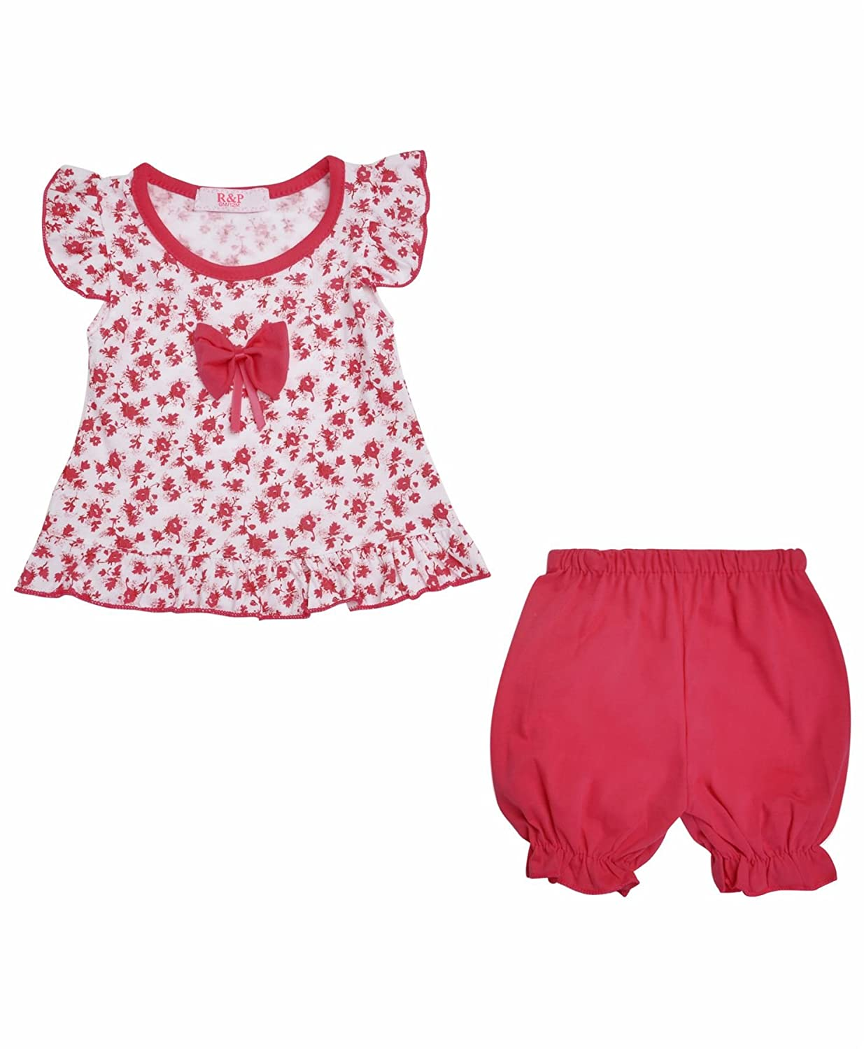 LotMart Baby Girls Dress Top and Shorts 2 Piece Set Floral