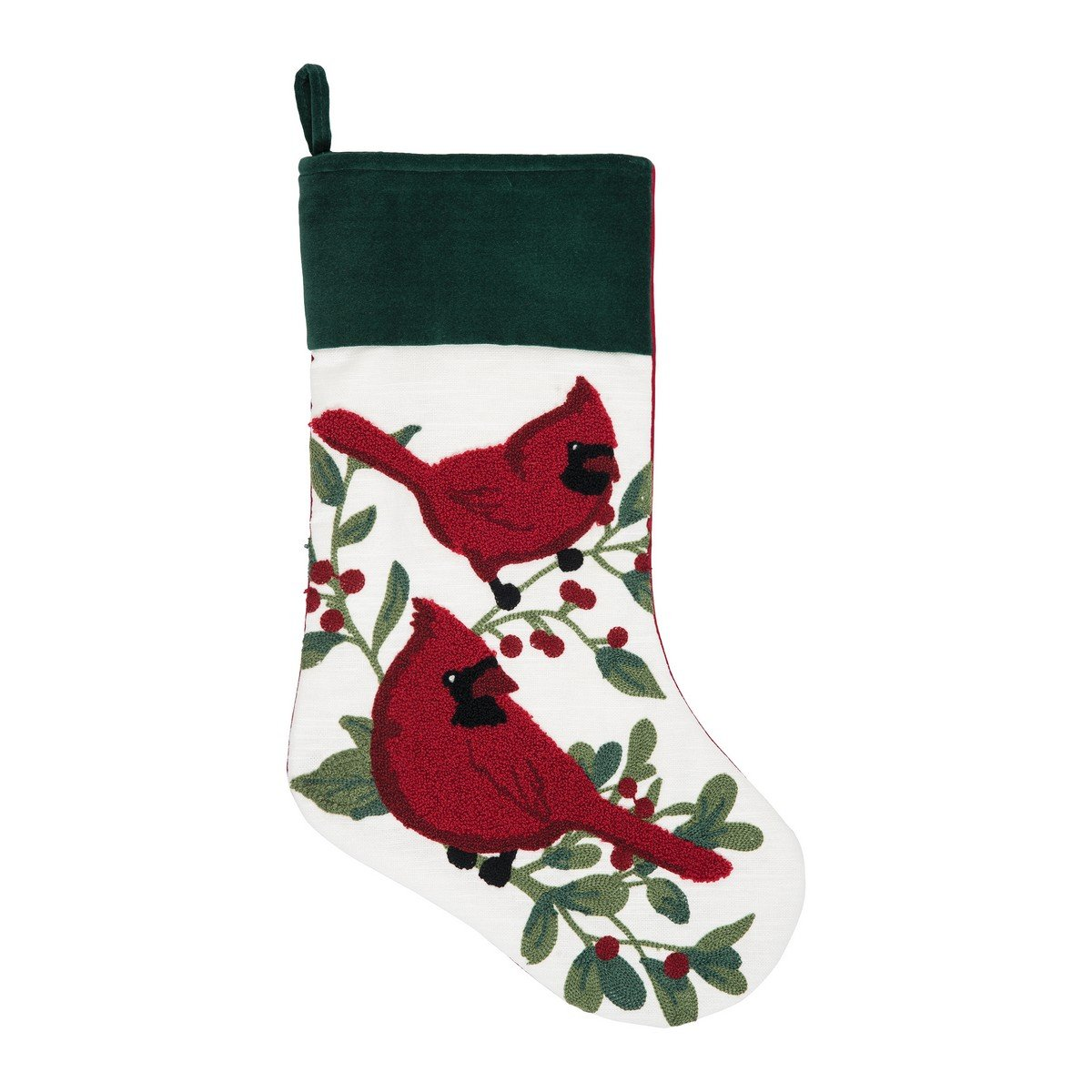 C&F Home Cardinal Berry Christmas Chain Stitch Stocking Green