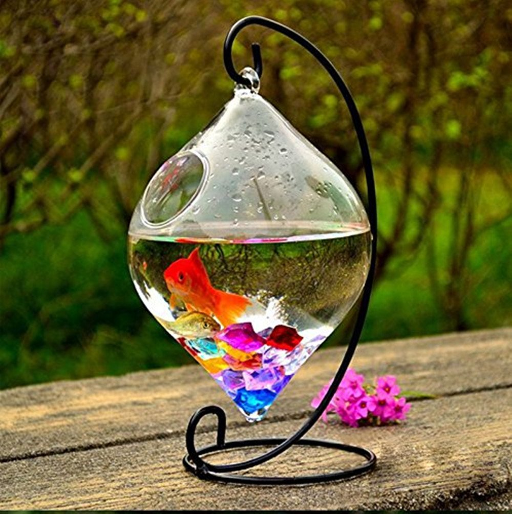 New Hanging Glass Fish Tank Transparent Spherical Fish bowl Creative Fishbowl Vases( Include The Stand+Glass Bowl ) (Cone)