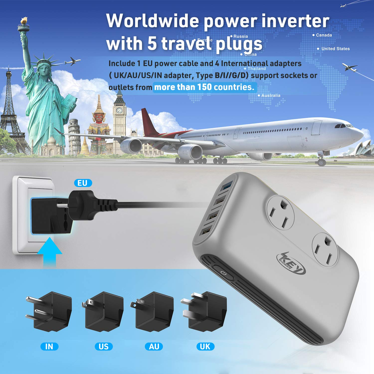 Key Power 220V to 110V Step Down Voltage Converter and International Travel Adapter, for CPAP, Hair Straightener Flat Iron, Hair Curling Iron, Toothbrush, Laptop - [Safely Use USA Electronic Overseas] by Key Power (Image #5)