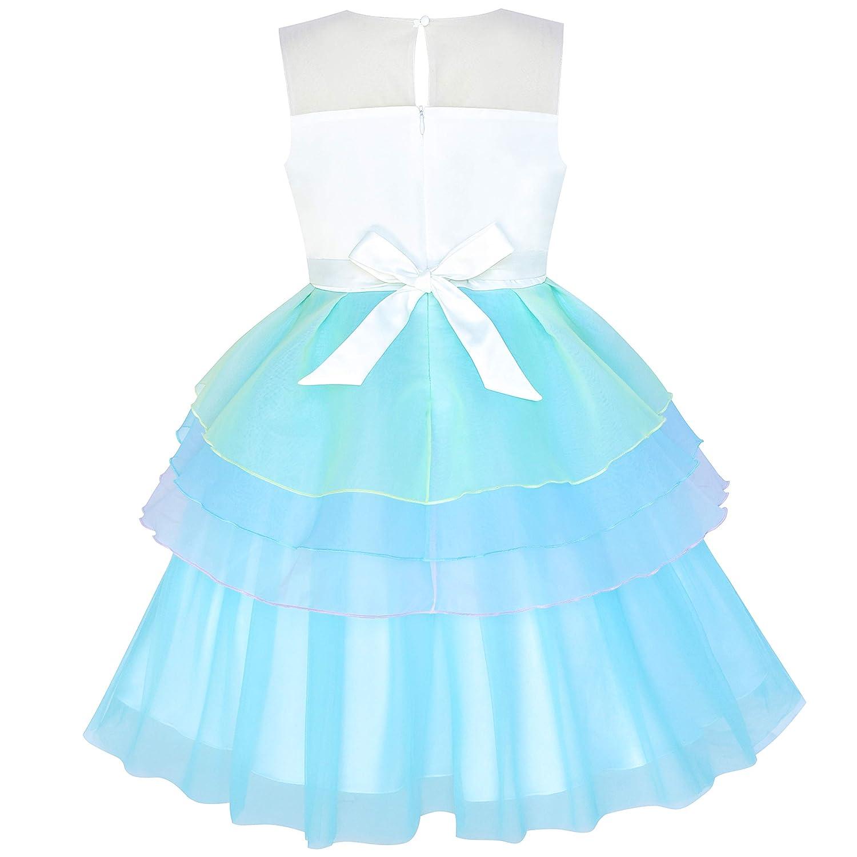 Sunny Fashion Vestito Bambina Blu Unicorno Costume Cosplay Principessa Festa di Halloween 4-10 Anni