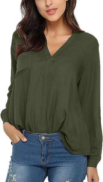 Style Dome Mujer Camiseta Camisa Blusa Mangas Largas Elegante Moda Oficina Casual Suelto con Tops Bolsillo Color Camisa Verde-649686 S: Amazon.es: Ropa y accesorios