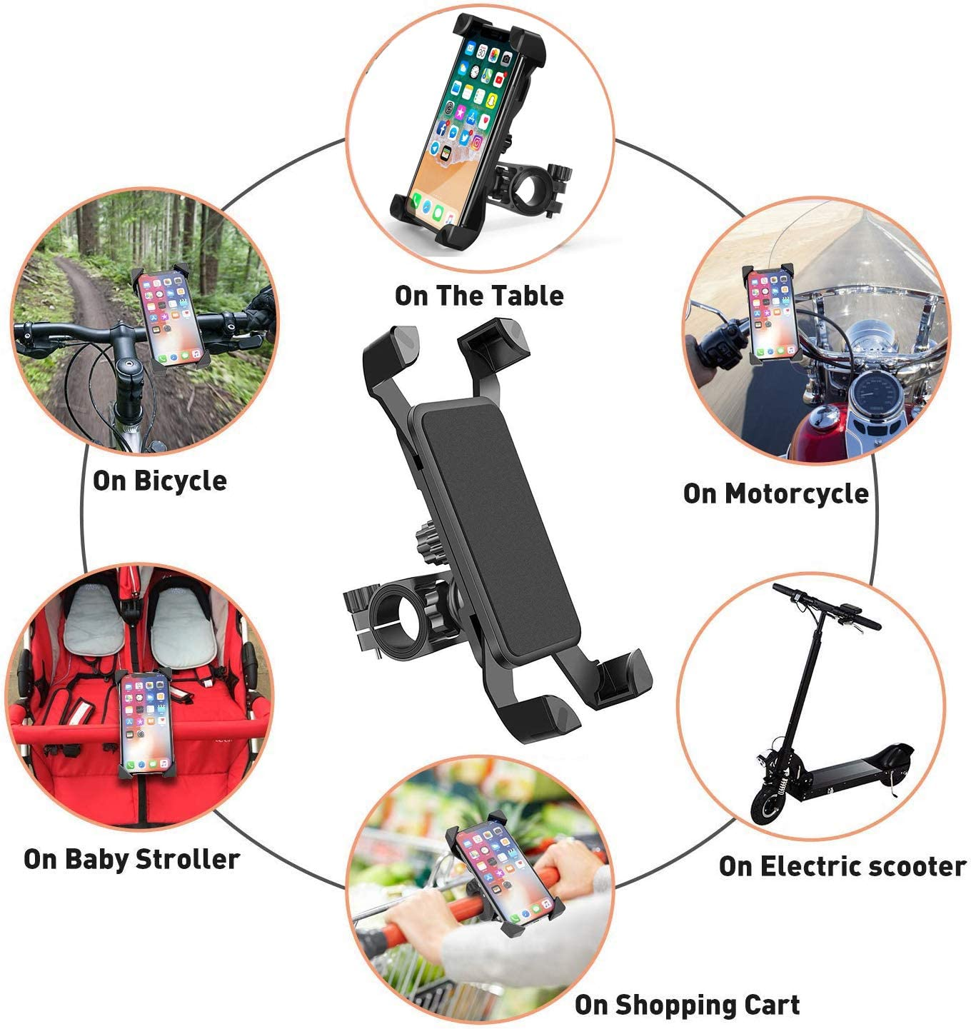 360/°Rotatable,Suit for iPhone Samsung and Other 4 to 7 Smartphones GPS Devices Bike Phone Holder Mount Universal Handlebar Bicycle Motorcycle Phone Mount for Motorbike Mountain Bike,Anti-Shake