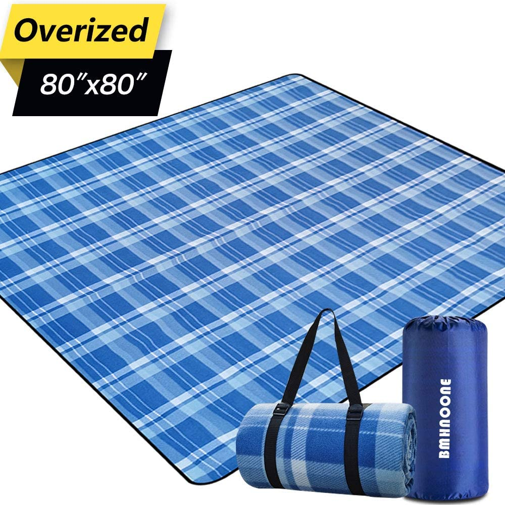 """BNHNOONE Outdoor Picnic Blanket, Extra Large Picnic Blanket 80""""x80"""" with Backpack for Family, Foldable Waterproof Picnic Outdoor Blanket Picnic Mat for Camping Hiking Travelling"""