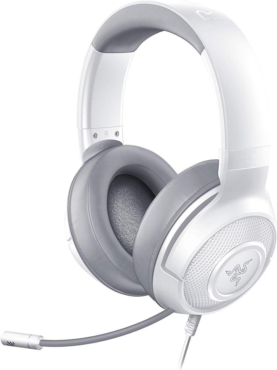 Razer Kraken X Mercury, Auriculares para juegos, auriculares ligeros para juegos para PC, Mac, Xbox One, PS4 y Switch, relleno de diadema, sonido envolvente 7.1, Blanco