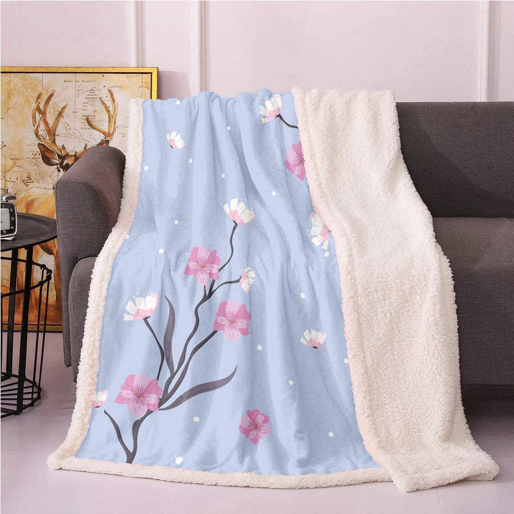 SeptSonne Blue and Pink Plush Blanket,Delicate Floral Branches with Apple Blossoms and Dots Light Thermal Blanket,for Couch Bed Fur Blanket(50x60,Pale Ceil Blue Multicolor)