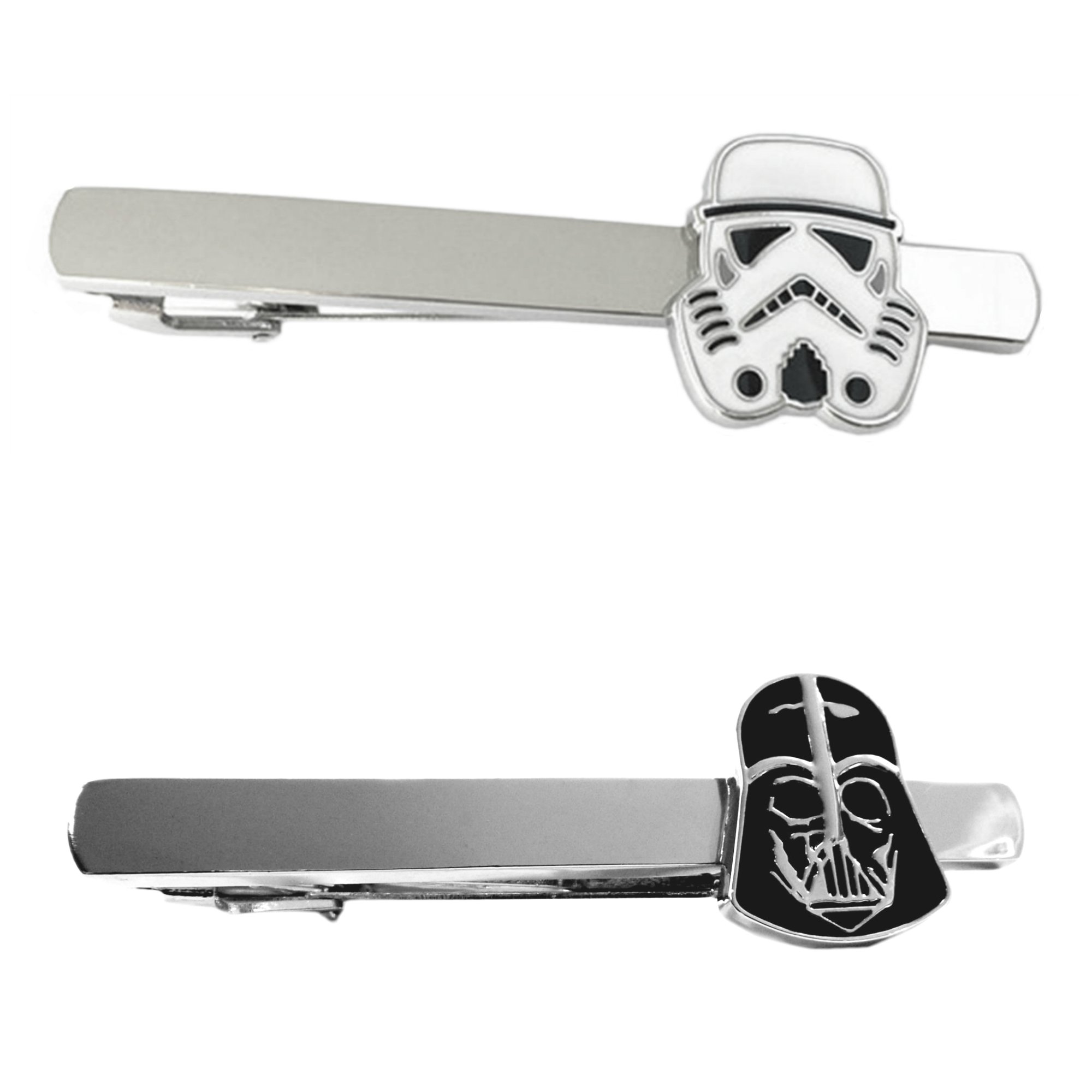 Outlander Star Wars - Storm Trooper & Darth Vader - Tiebar Tie Clasp Set of 2 Wedding Superhero Logo w/Gift Box