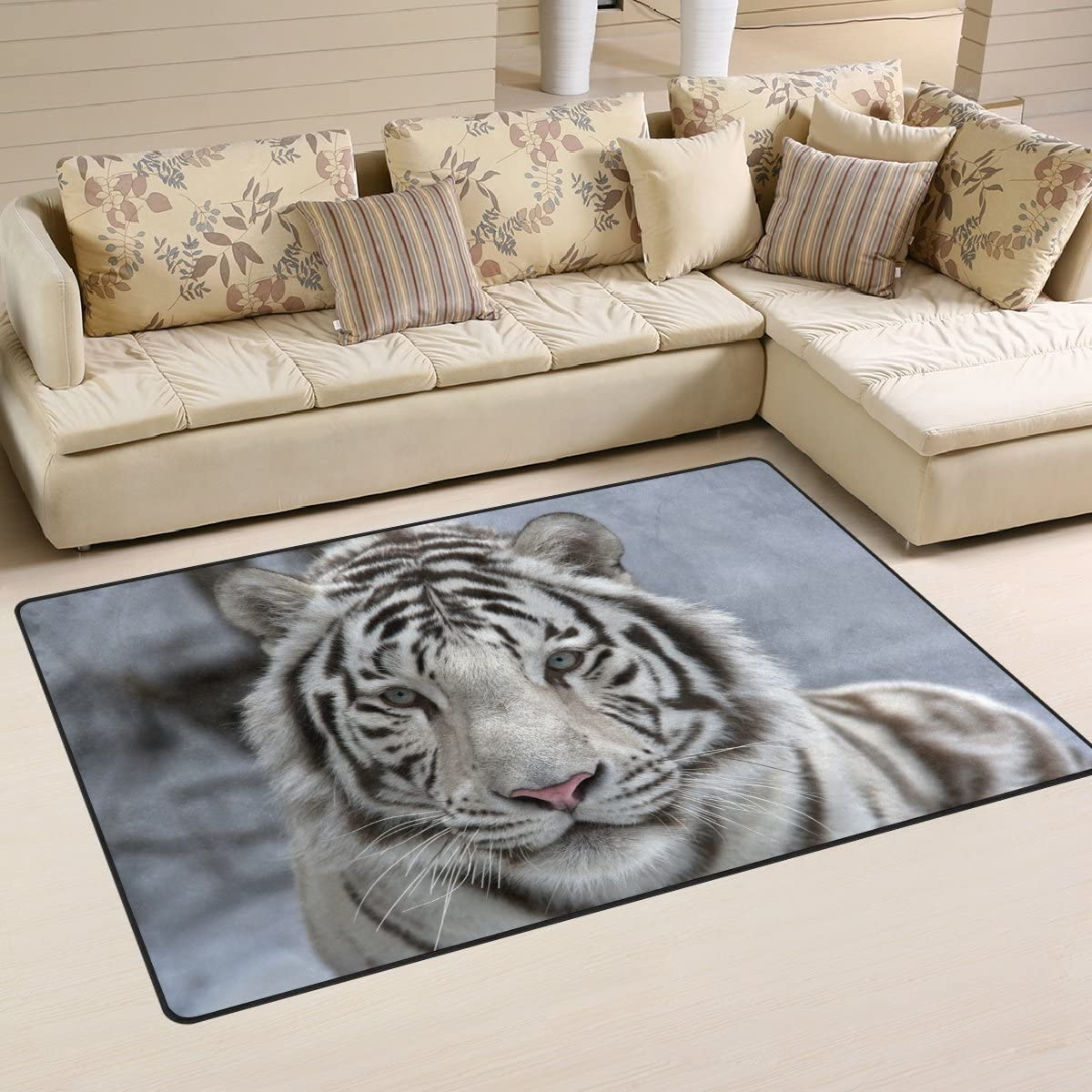 Yochoice Non-slip Area Rugs Home Decor, Hipster White Benga Tiger Animal Kingdom Floor Mat Living Room Bedroom Carpets Doormats 31 x 20 inches