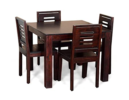 SANTOSHA D�??COR Solid Sheesham Wood Dining Table with 4-Chairs and Mahogany Finish (Brown, SD23232)