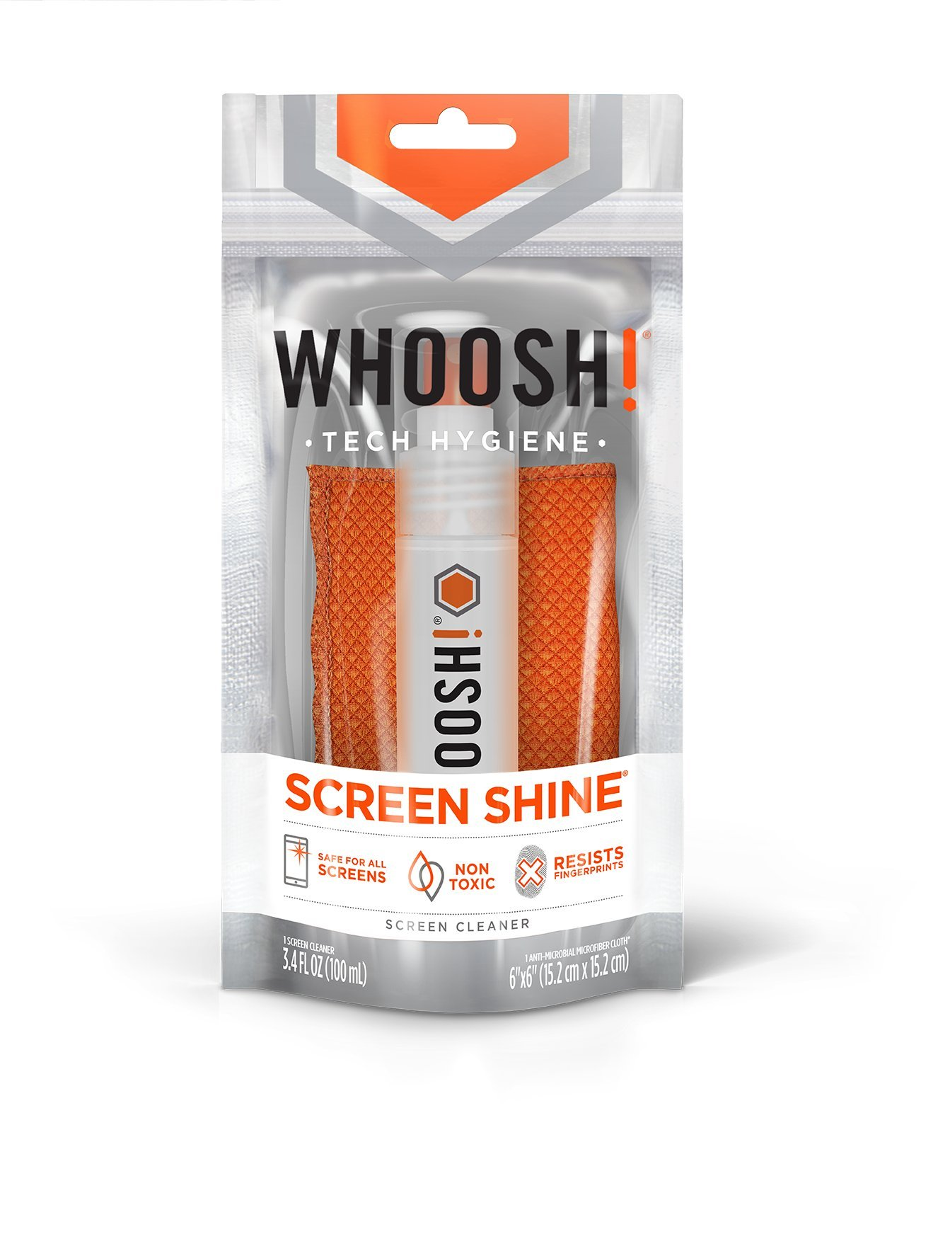WHOOSH! Award-Wining Screen Cleaner – Safe for all screens – Smartphones, iPads, Eyeglasses, Kindle, LED, LCD & TVs – Includes 3.4 Oz bottle + 1 Premium Antimicrobial Microfiber cloth by WHOOSH