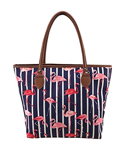 743f02006 LilyRosa® Pink Flamingo Navy Blue Ladies Tote Bag With Zipper Bag With FREE  Pink Flamingo Bag Charm: Amazon.co.uk: Shoes & Bags