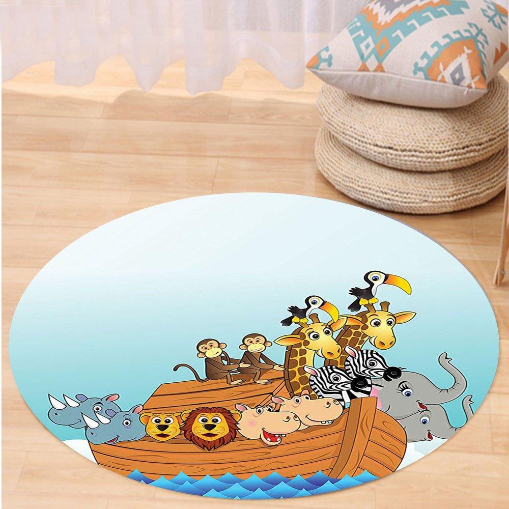 VROSELV Custom carpetNoahs Ark Decor Noahs Ark in Waves in the Sea Water Cartoon Characters Animal Giraffe Elephant Print Home Bedroom Living Room Dorm Decor Multi Round 72 inches