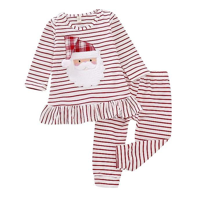 3e6b7b267282 Noubeau Toddler Baby Girl Xmas Santa Print Dresses Casual Kids Christmas  Pants Set Clothes Outfits (