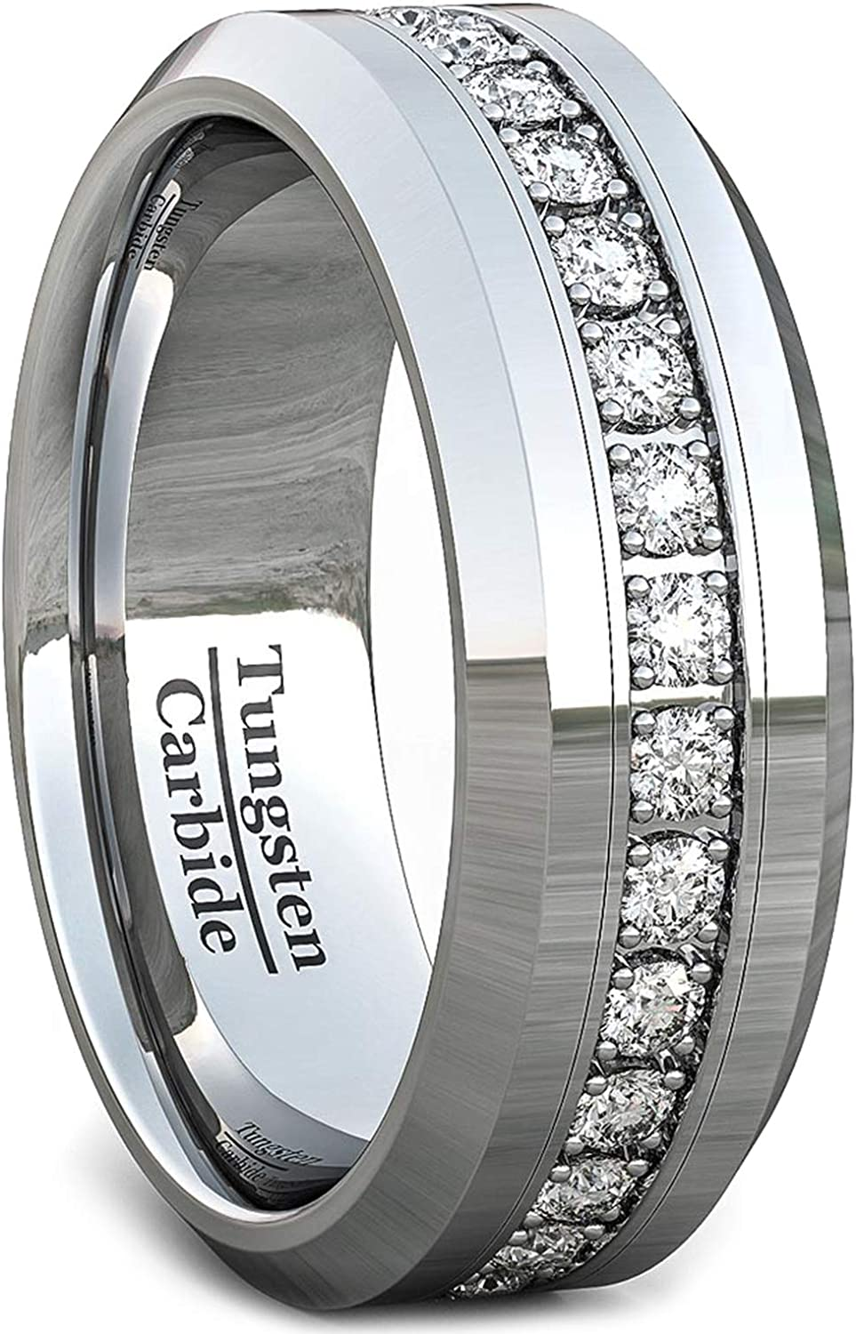 Duke Collections 8mm Men Engagement/Fashions Wedding Band Tungsten Ring for Men Engagement/Fashion Polished Tungsten Carbide Fully Stacked Cubic Zircon Beveled Edge Comfort Fit