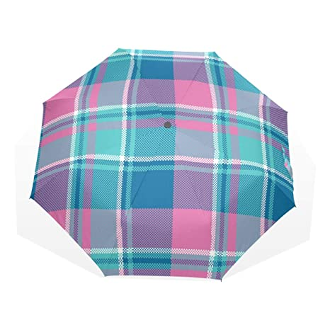 Blue and Pink Plaid 10 Ribs Windproof Compact Folding Umbrella for Men Women