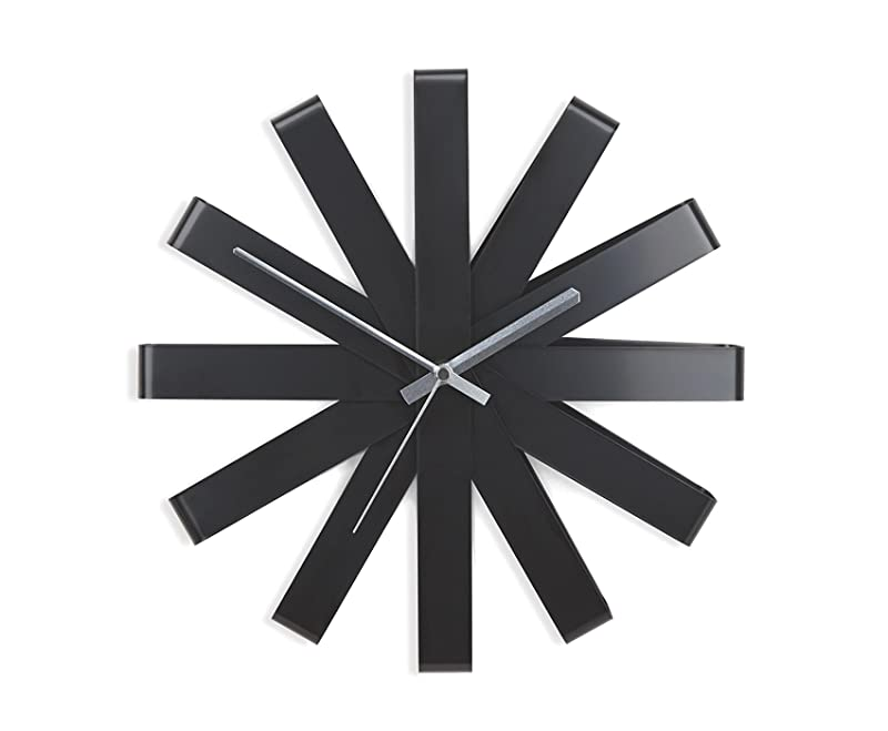"Minimalist Black ""Ribbon"" Wall Clock by Umbra"